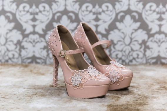 Sapato Scarpin Customizado Com Cristais Festa Noiva Rosa