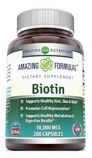 Importado Biotin 200 Capsulas 10000 Mcg. Piel Cabello Y Uñas