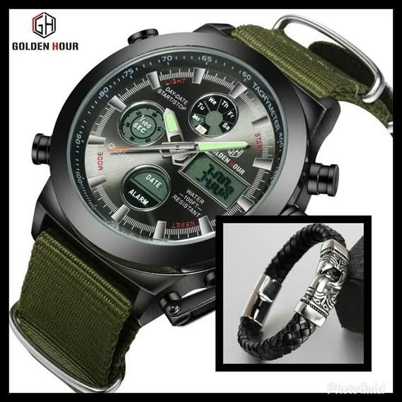 Relógio Goldenhour Militar + Pulseira De Couro