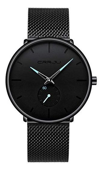 Reloj Crrju Minimalista Negro Garantía