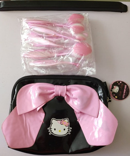 10 Brochas Oval Oro Rosa + Cosmetiquera Hello Kitty D Regalo