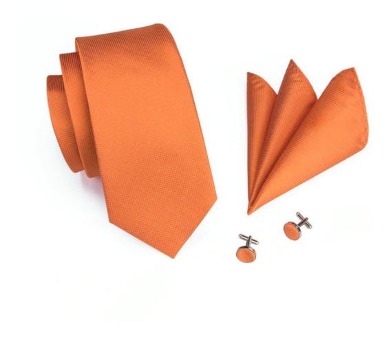 266 Corbata Seda Jacquard Pañuelo Mancuernillas - Naranja