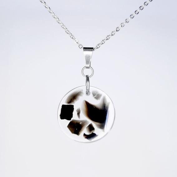 Collar Acero Inoxidable Obsidiana Encapsulada