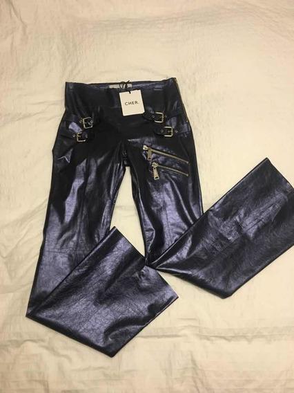 Pantalón Mujer Cuero 100 % Cher Nuevo Modelo Erebo Azul