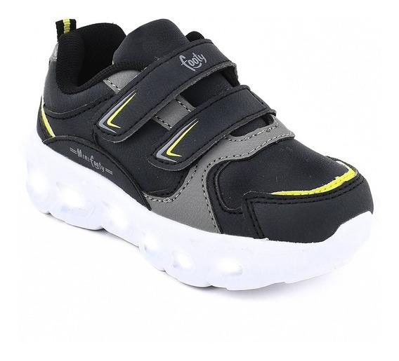Zapatillas Footy Flash Negro Con Luz Al Pisar Fx324 (0324)