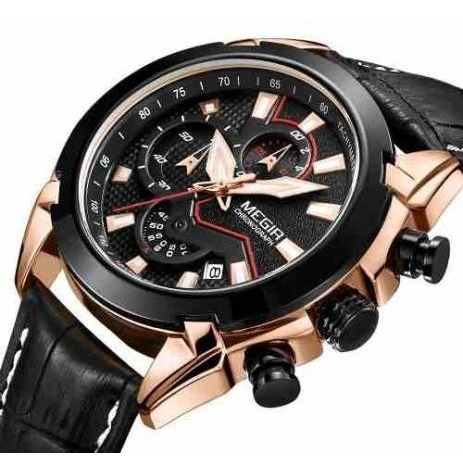 Relógio Megir 2065 Pulseira Couro Frete Gratis
