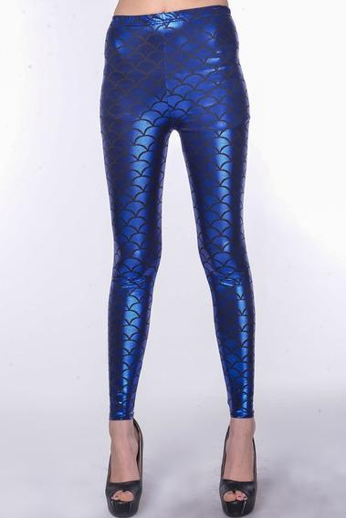 Sexy Leggins Mallas Azul Rey Brillóso Pantalón Legin 79391