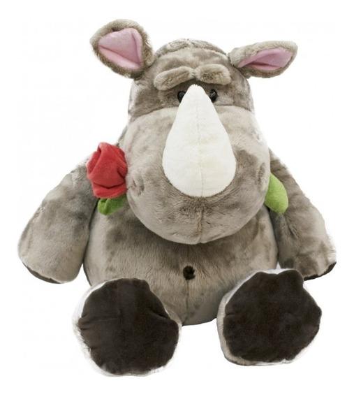 Rinoceronte De Pelúcia Com Flor Na Boca -23cm
