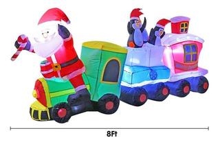 Inflable De Tren Navideño Con Papá Noel 8 Pies Marca Bigjoys