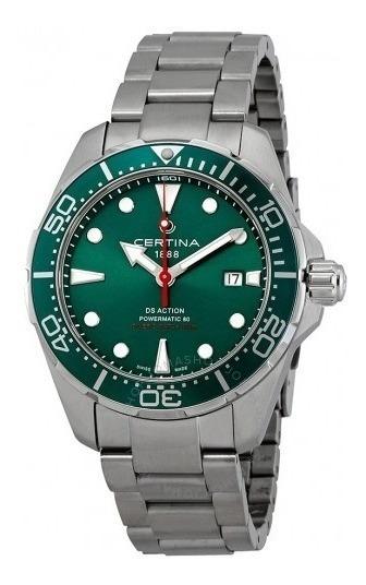 Relógio Masculino Suíço Certina Action Diver Verde/prata/aço