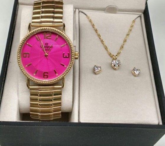 Kit Relógio Champion Dourado Aço Rosa Pink Cn27830j -brinde