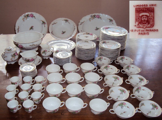 Juego De Vajilla De Porcelana Francesa Limoge 105 P. (1848)