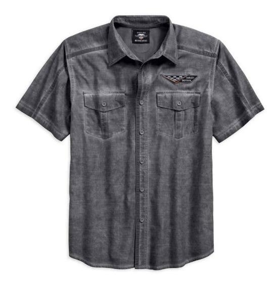 Harley Davidson Camisa Washed Textured Garage Original Impor