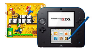 Nintendo 2DS New Super Mario Bros 2 azul e preto