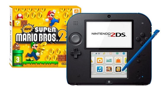 Nintendo 2DS New Super Mario Bros 2 azul y negro