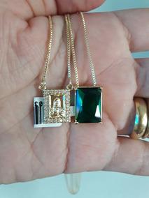 Escapulario 15 Microns Ouro 18k Com Zirconias Verdes