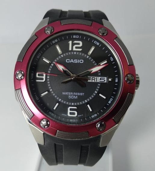 Relógio Analógico Casio Preto Detalhe Em Vermelho - Mtp-1327