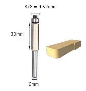 Fresa Reta C/ Rolamento 6mm X 3/8 P/ Rebaixo / Formica