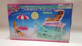 Mueble Para Casa De Muñeca Barbie Alberca Piscina 2578 Full