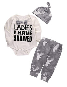 Roupa Infantil Bebê Conjunto Camiseta Ladies 3pçs