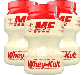 Kit 3 X Whey Kult 1kg - Muscle Full - Whey Sabor Yakult