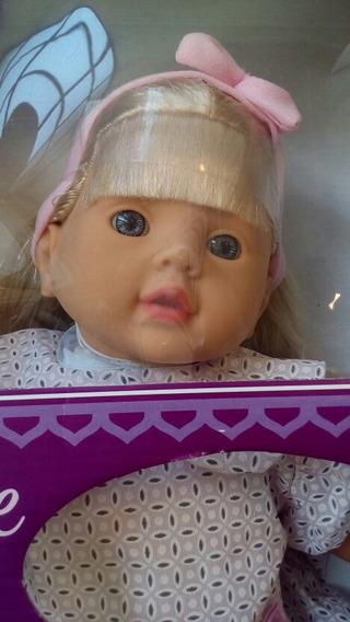 Boneca Com Rosto Dê Bebê Menina Cabelo Vestido 129 Envio Ja