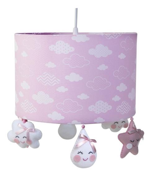 Lustre Luminária Pendente Chuva Amor Nuvem Bebê Rosa Benção