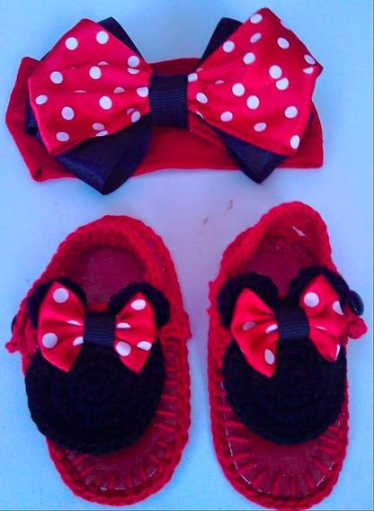 Huaraches Tejidos Tiara Para Bebé Minnie Mouse