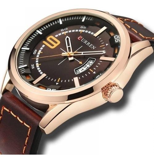 Relógio Masculino Original Couro Marrom E Rose Curren 8295