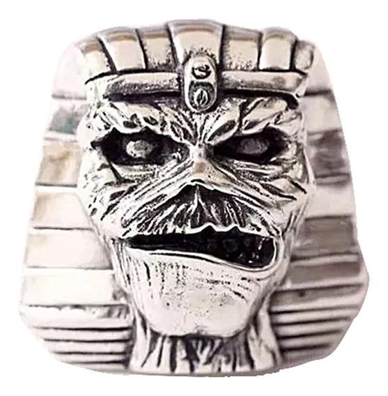 Anel Múmia Do Faraó Rock Punk Egito Antigo Em Prata A29