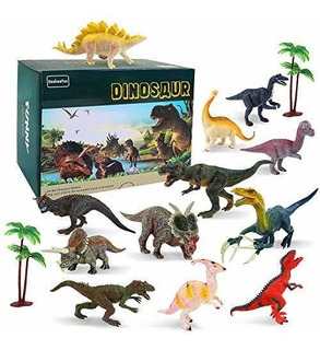 12 Pcs Dinosaurio Figura Juguetes Con 2 Pcs Arbol Y Dinosaur