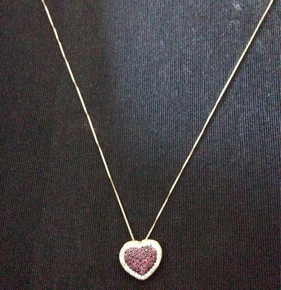 Lindo Colar Em Ouro 18 Kts Com Coração Pavê Em Zirconias