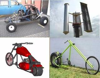 Kit Projeto Kart + Bike Chopper + Moto Chopper + Aerogerador