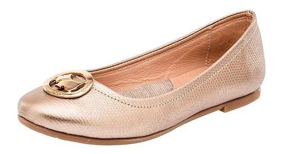 Zapato De Piso Niña Dama Ferrioni R101-002-03 Oro 18-24 Balerina 090-514 T4