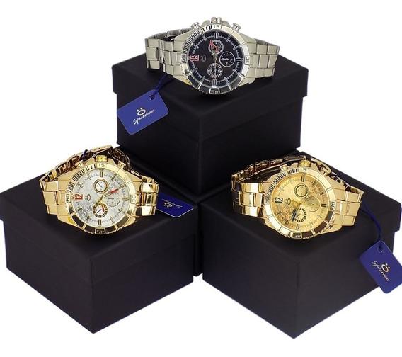 Kit Com 3 Relógios Prata E Dourado 12 X Sem Juros!