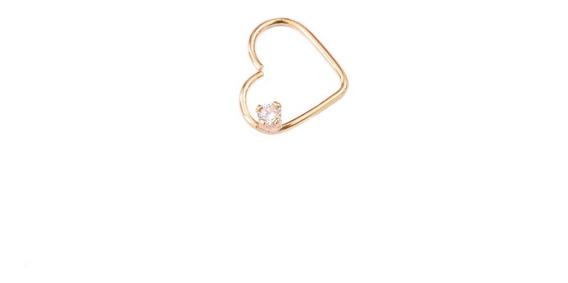 Daith Piercing Coração Zircônia Ouro 750 18k