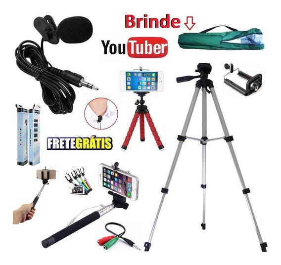 Kit Youtuber Microfone Lapela + Tripé 1,30m Celular + Bastão