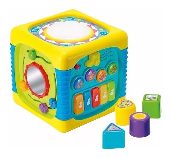 Cubo Multi Actividades Grande 20x20 Didáctico Musical Winfun Original Con Encastres Y Espejo