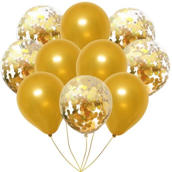 Set 10 Globos Transparente Confeti Dorado Gold + Perlado Oro