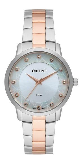 Relógio Quartzo Feminino Orient Ftss0065 Cromado Com Dourado, Fundo Branco Com Cristais Swarovski