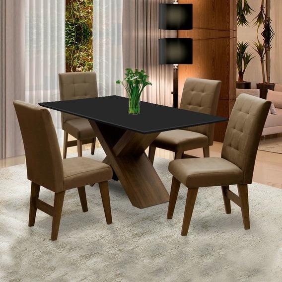 Conjunto Mesa Jantar Dubai 1,35m 4 Cadeiras Castanho/cacau