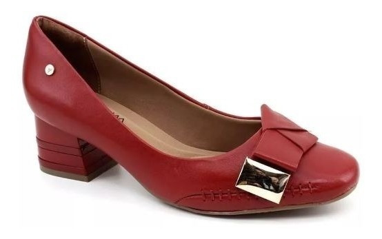Sapato Feminino Ramarim 1895102 Vermelho Salto Baixo Confort