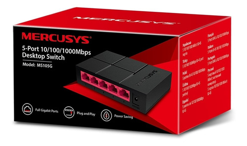 Imagen 1 de 3 de Switch Gigabit Desktop Mercusys 5 Puertos Ms105g 10/100/1000