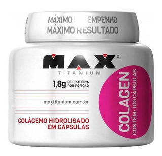 Colágeno Hidrolisado Max Titanium Colagen Com 100 Cápsulas