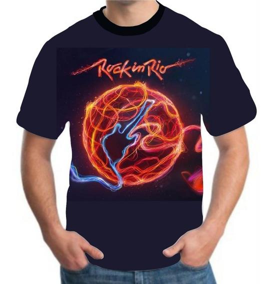 Blusa Rock In Rio Roll Masculina Camisa Roupa Guitarra
