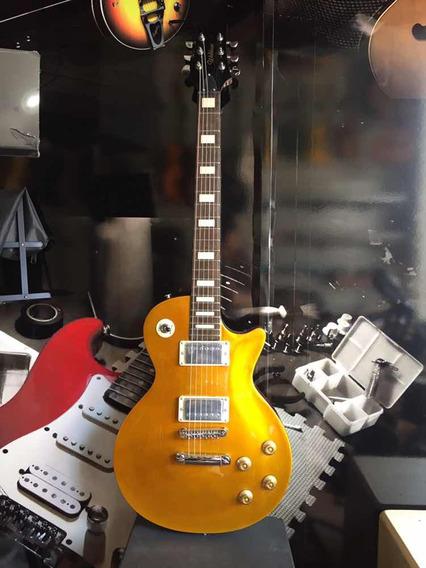 Guitarra Waldman Les Paul Gold Top Detalhe No Corpo
