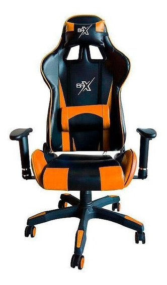 Cadeira Gamer Br-x Com 5 Rodas Preto E Laranja