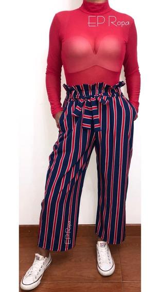 Pantalon Corto Culotte Paper Bag Tiro Alto Moda Juvenil
