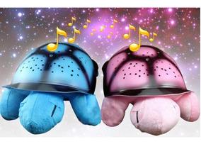 Tartaruga Protetora Musical Luminaria Projetor De Estrelas