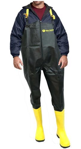 Imagen 1 de 3 de Pantalonera Bata Impermeable Pantalon Pechera Con Casquillo